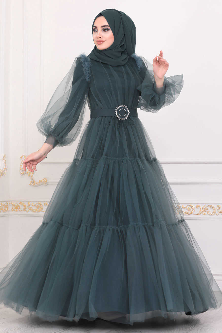 Petrol Green Hijab Evening Dress 40350PY