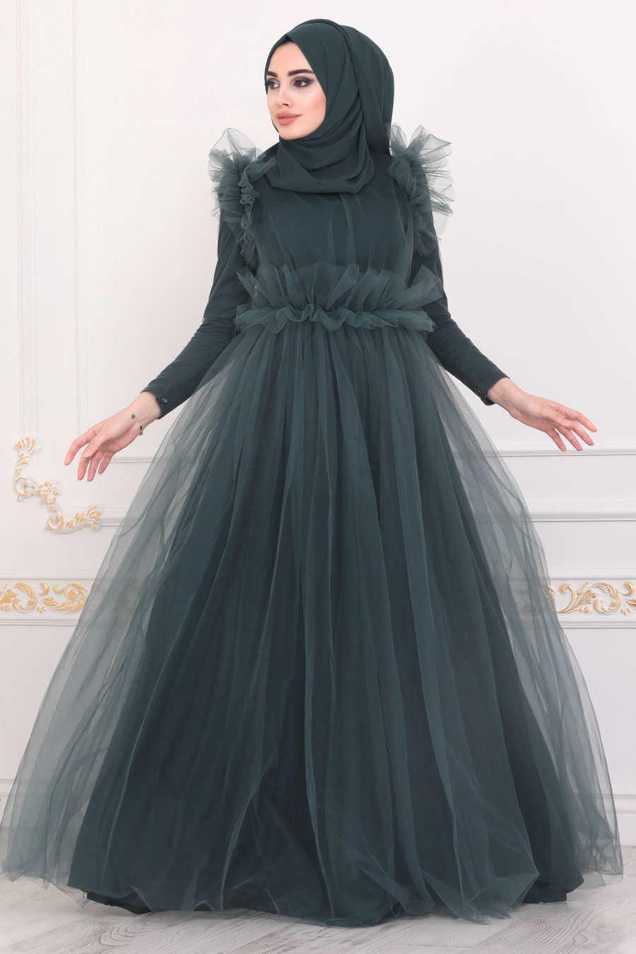 Petrol Green Hijab Evening Dress 4067PY