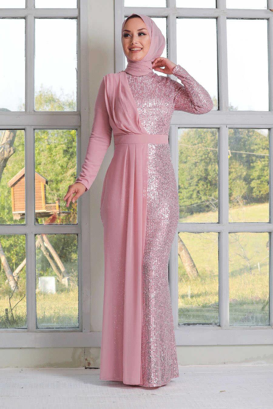 Pink Hijab Evening Dress 34290P