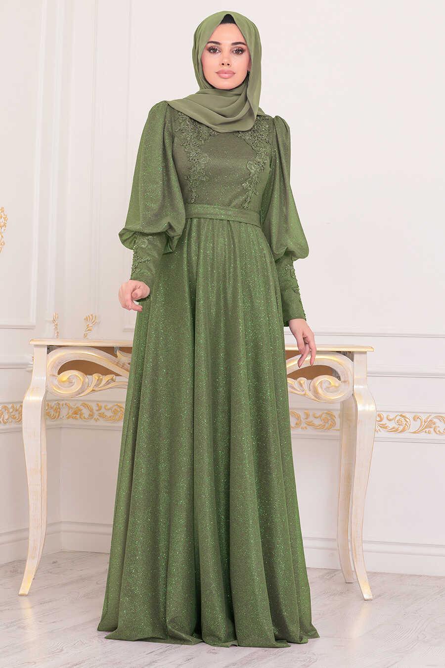 Pistachio Green Hijab Evening Dress 21521FY
