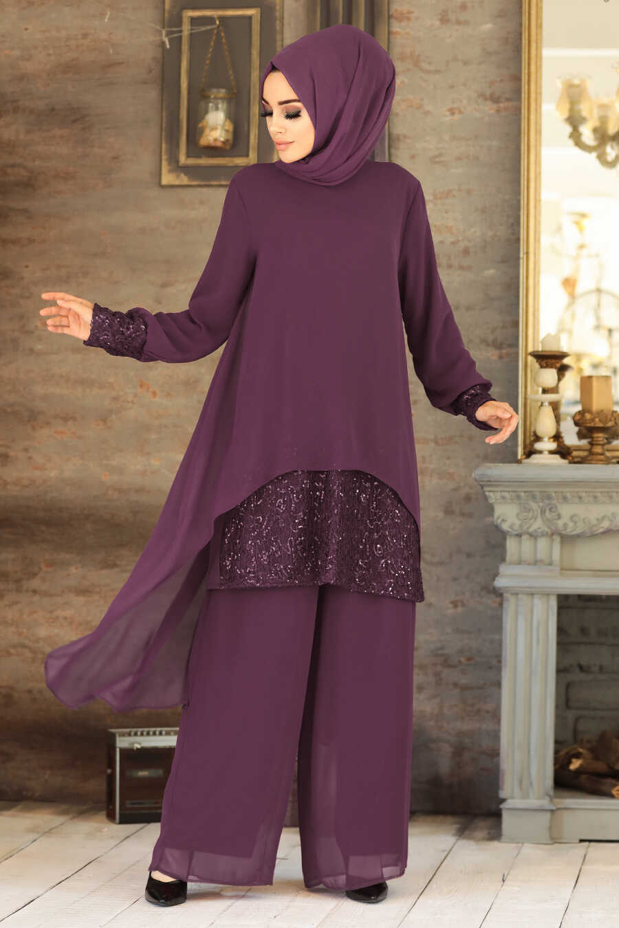 Plum Color Dual Suit Dress 50053MU