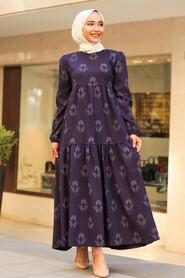 Plum Color Hijab Dress 5180MU - Thumbnail