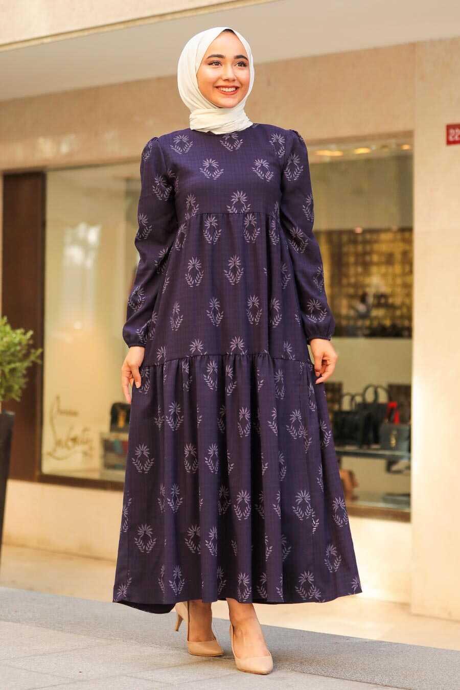 Plum Color Hijab Dress 5180MU