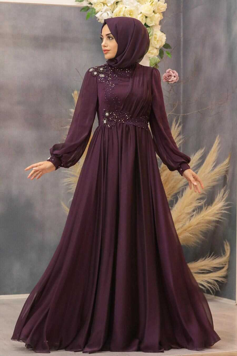 Plum Color Hijab Evening Dress 21650MU
