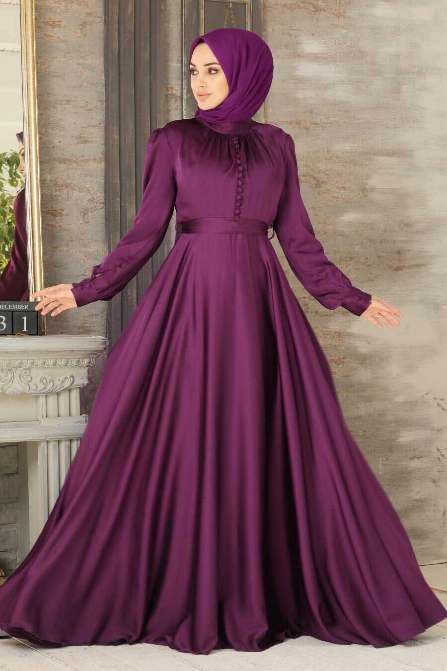 Plum Color Hijab Evening Dress 25391MU