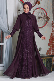 Plum Color Hijab Evening Dress 50090MU - Thumbnail