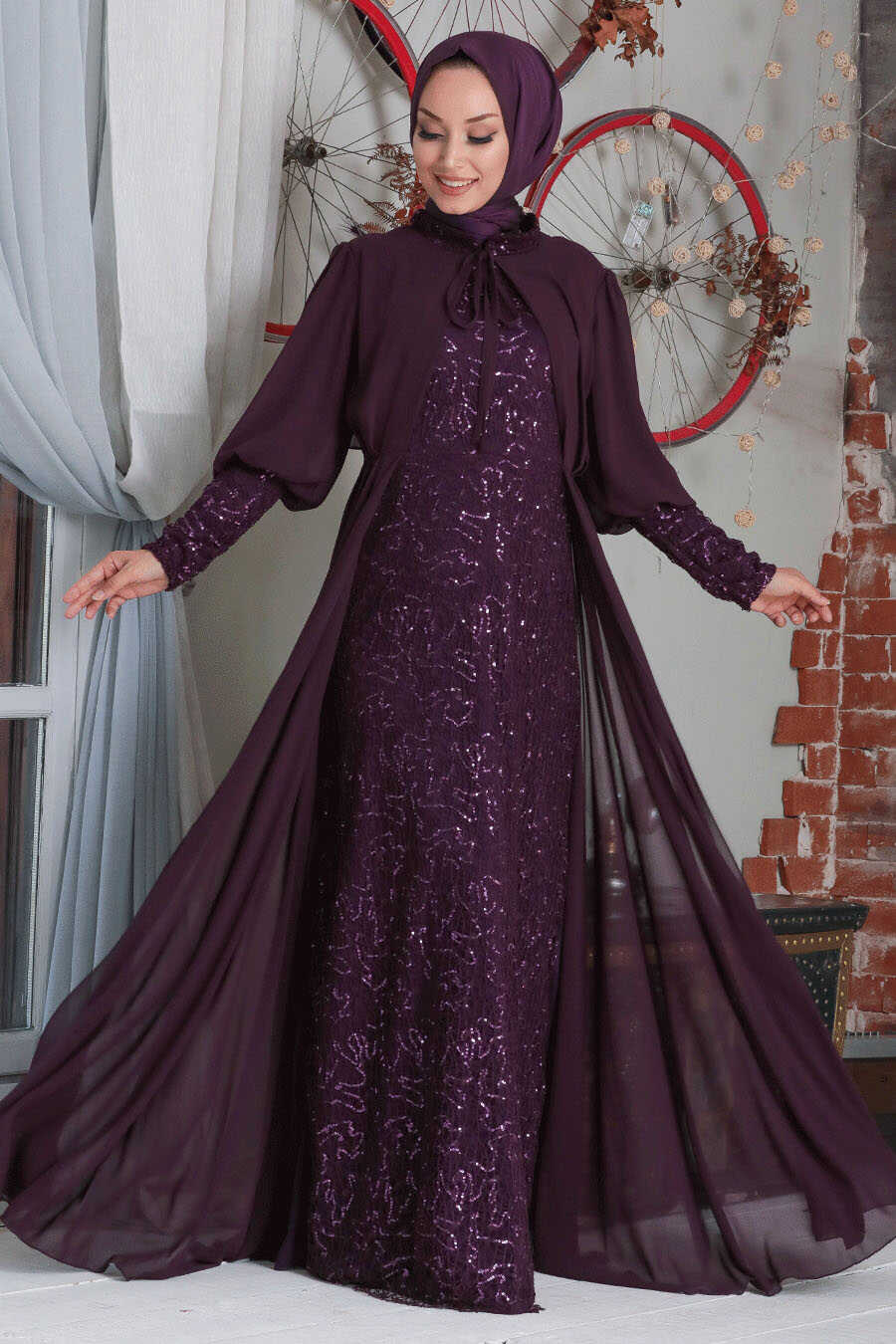 Plum Color Hijab Evening Dress 50090MU