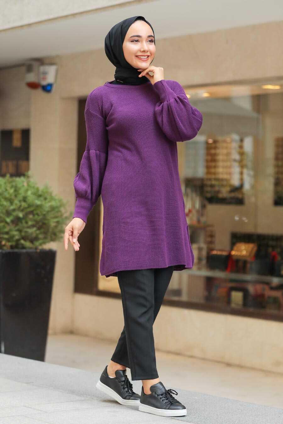 Plum Color Hijab Tunic 17987MU