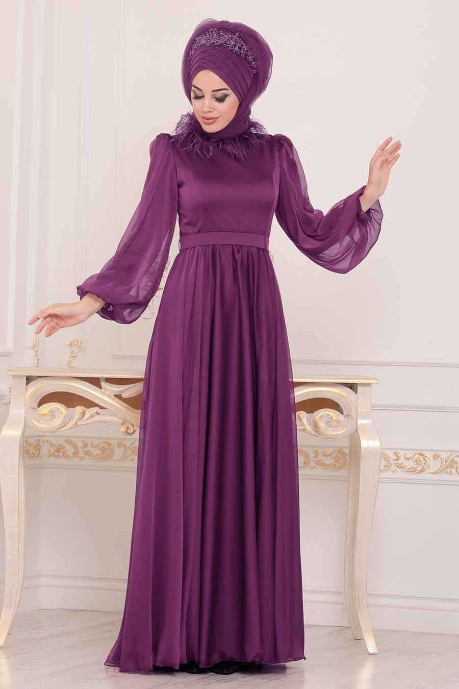 Plum Hijab Evening Dress 3925MU