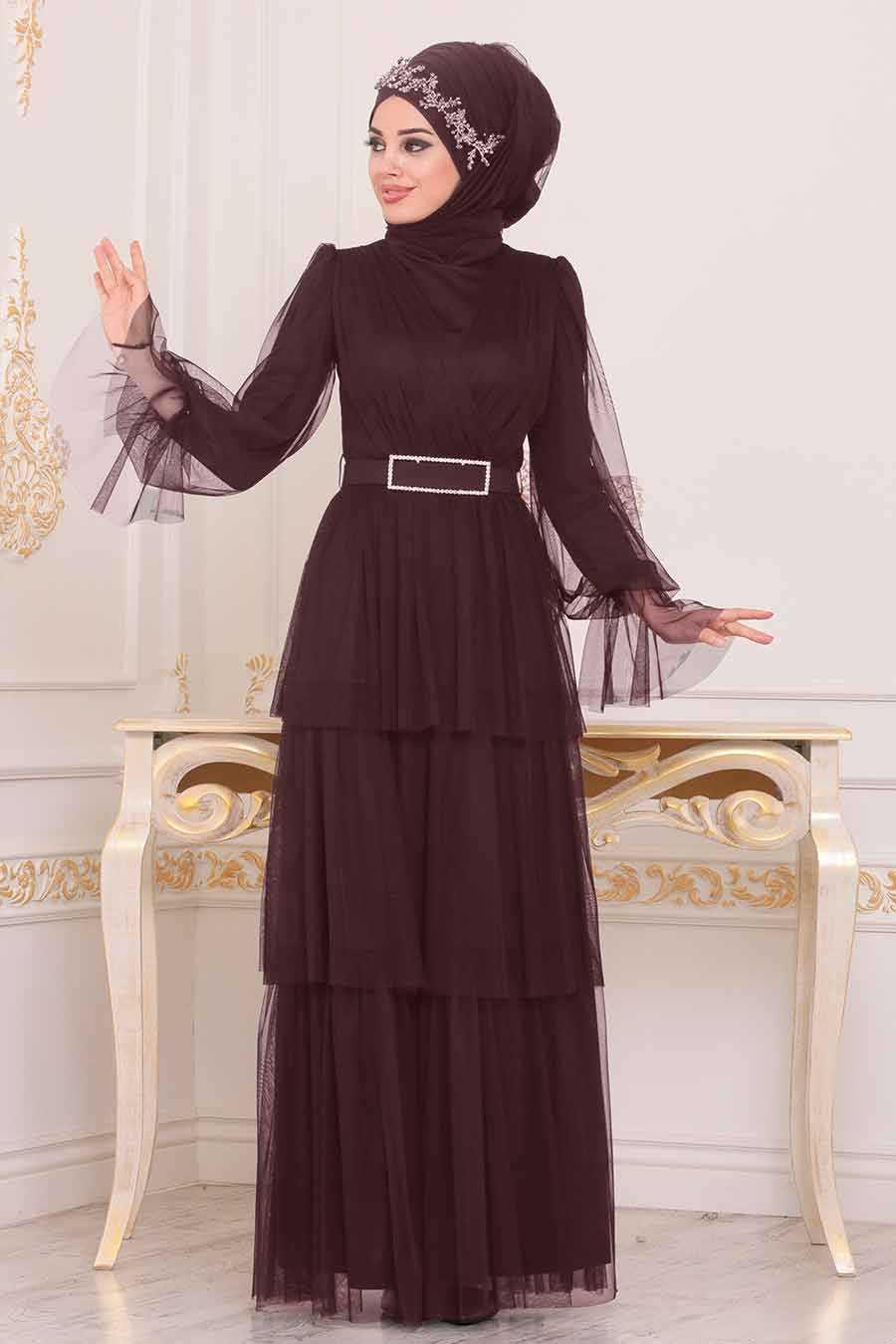 Plum Hijab Evening Dress 39420MU