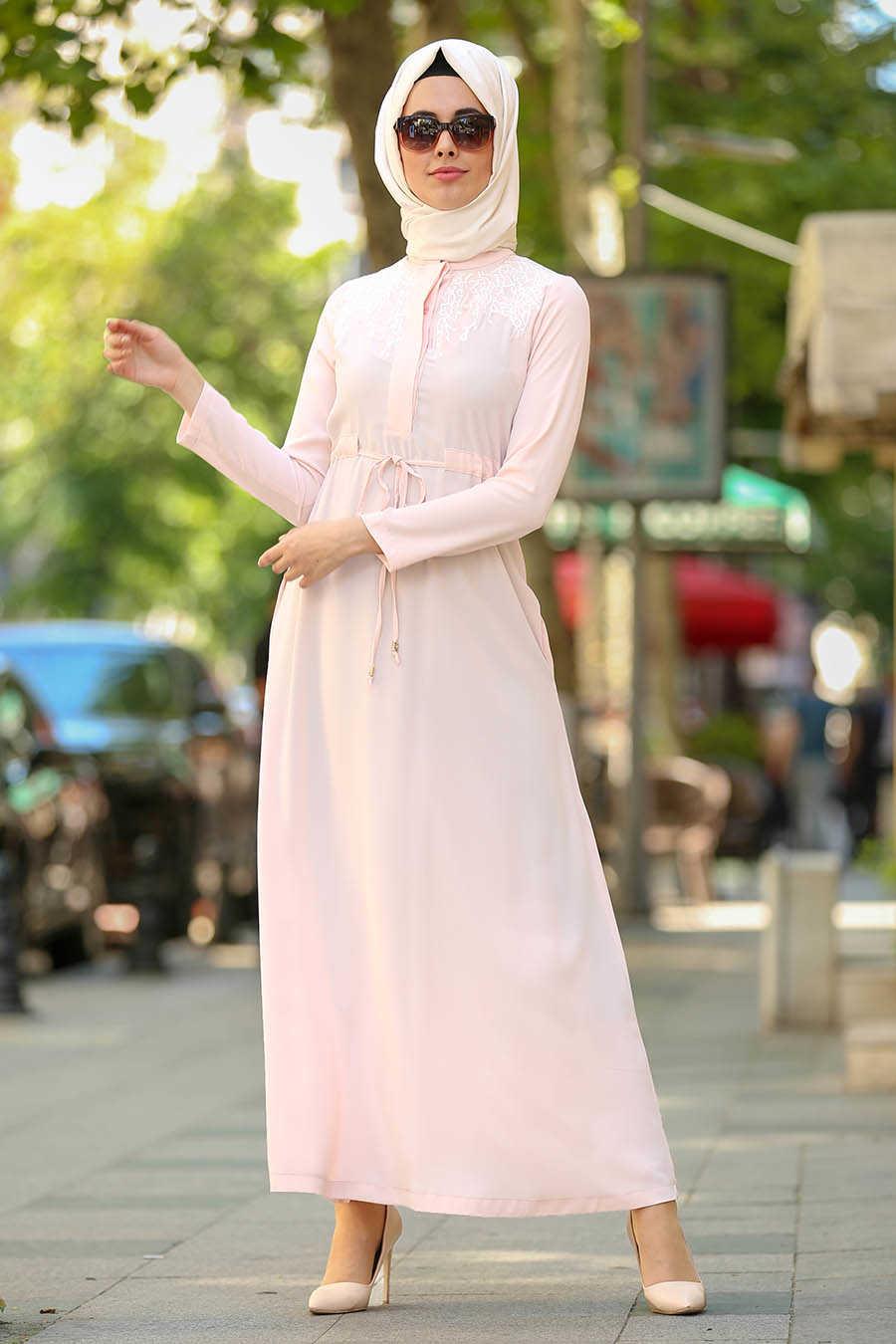 Powder Pink Hijab Dress 2196PD