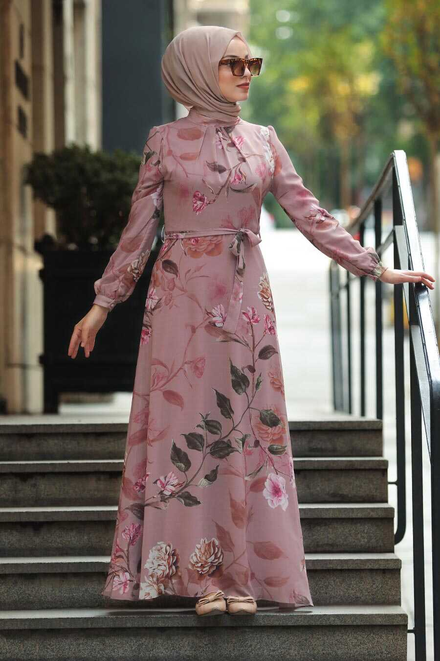 Powder Pink Hijab Daily Dress 8154PD