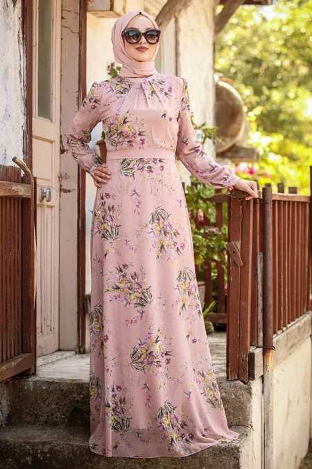 Powder Pink Hijab Dress 815221PD