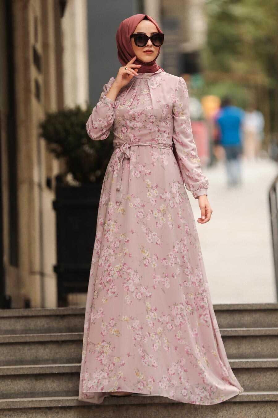 Powder Pink Hijab Dress 815404PD