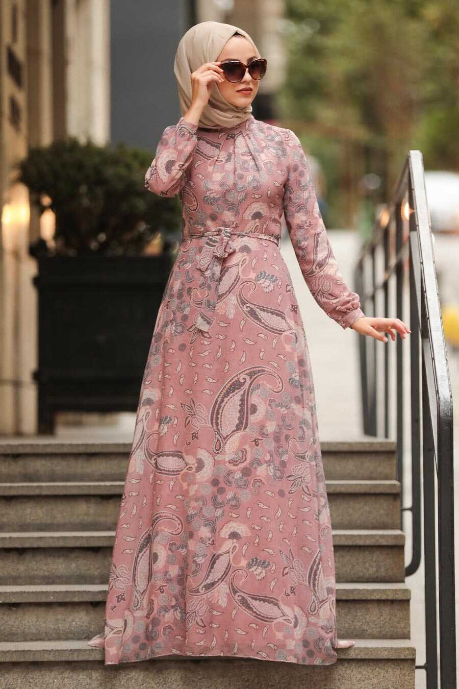 Powder Pink Hijab Dress 81549PD