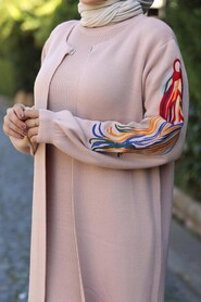 Powder Pink Hijab Dual Suit Dress 2200PD - Thumbnail