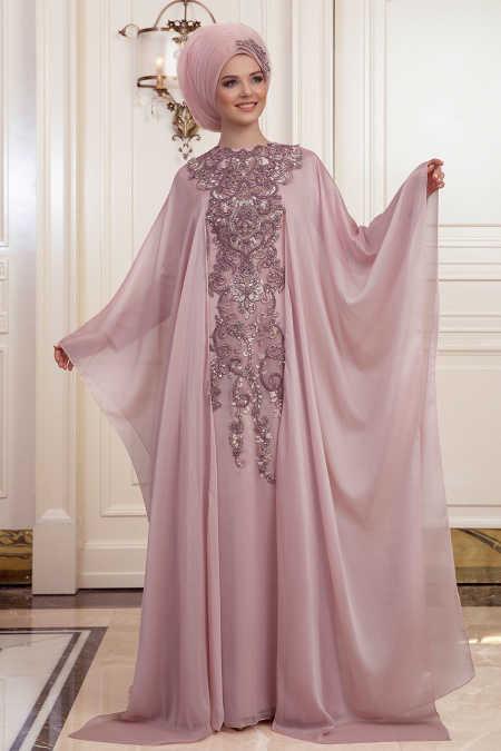Powder Pink Hijab Evening Dress 190701PD