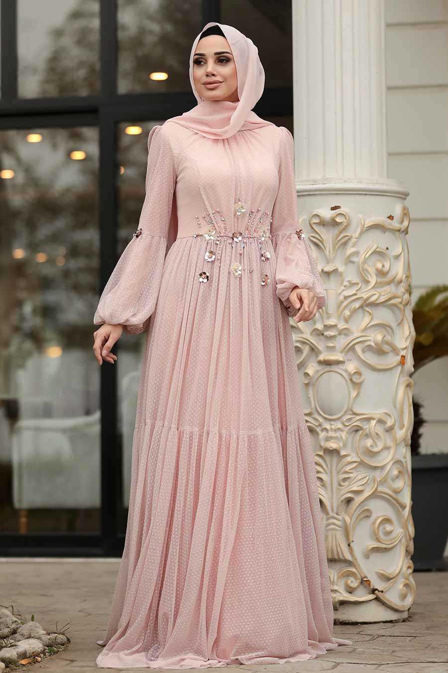 Powder Pink Hijab Evening Dress 38940PD
