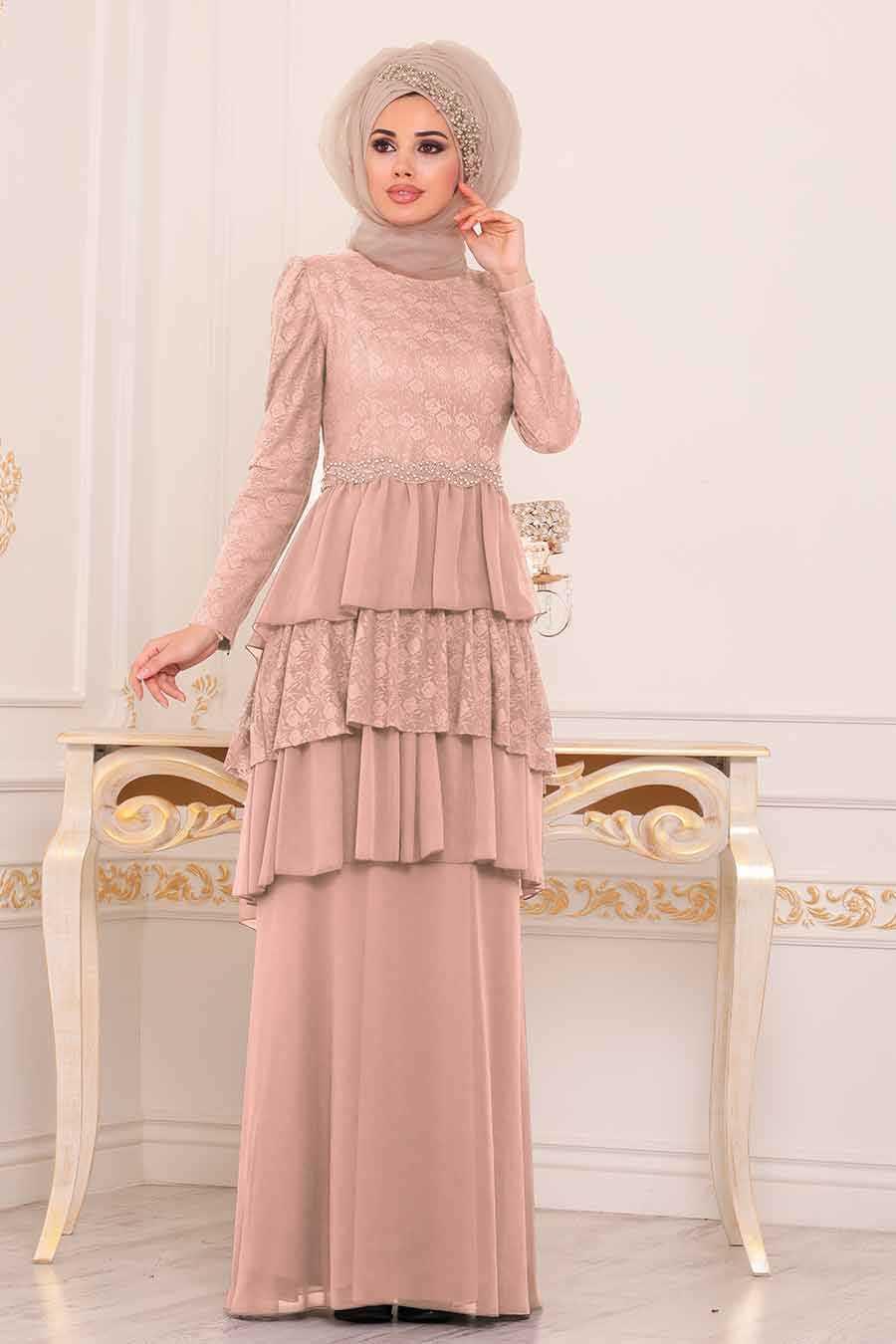 Powder Pink Hijab Evening Dress 39410PD