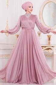 Powder Pink Hijab Evening Dress 40550PD - Thumbnail