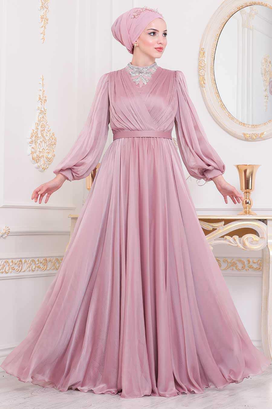 Powder Pink Hijab Evening Dress 40550PD
