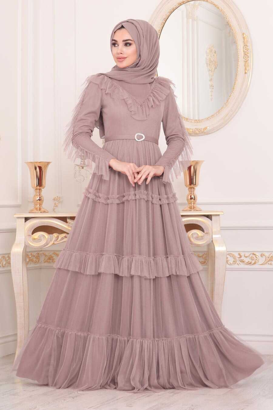 Powder Pink Hijab Evening Dress 4097PD