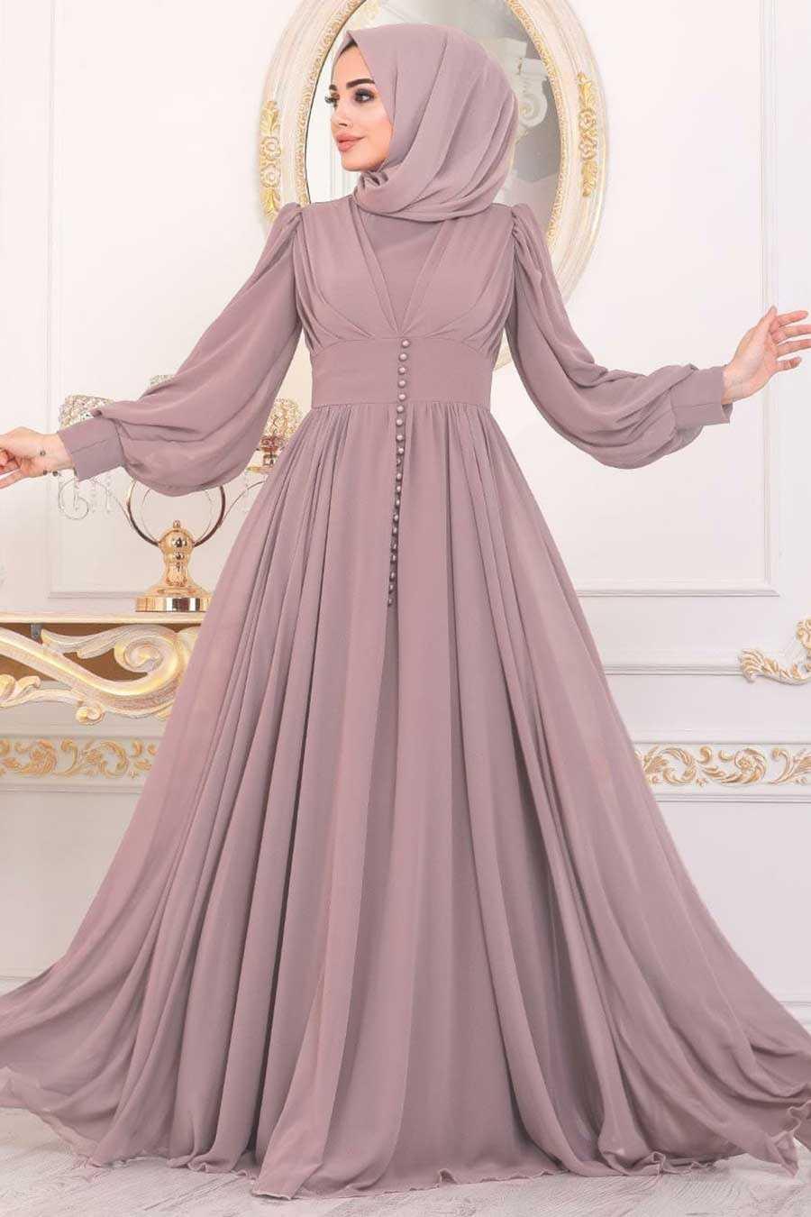 Powder Pink Hijab Evening Dress 41011PD