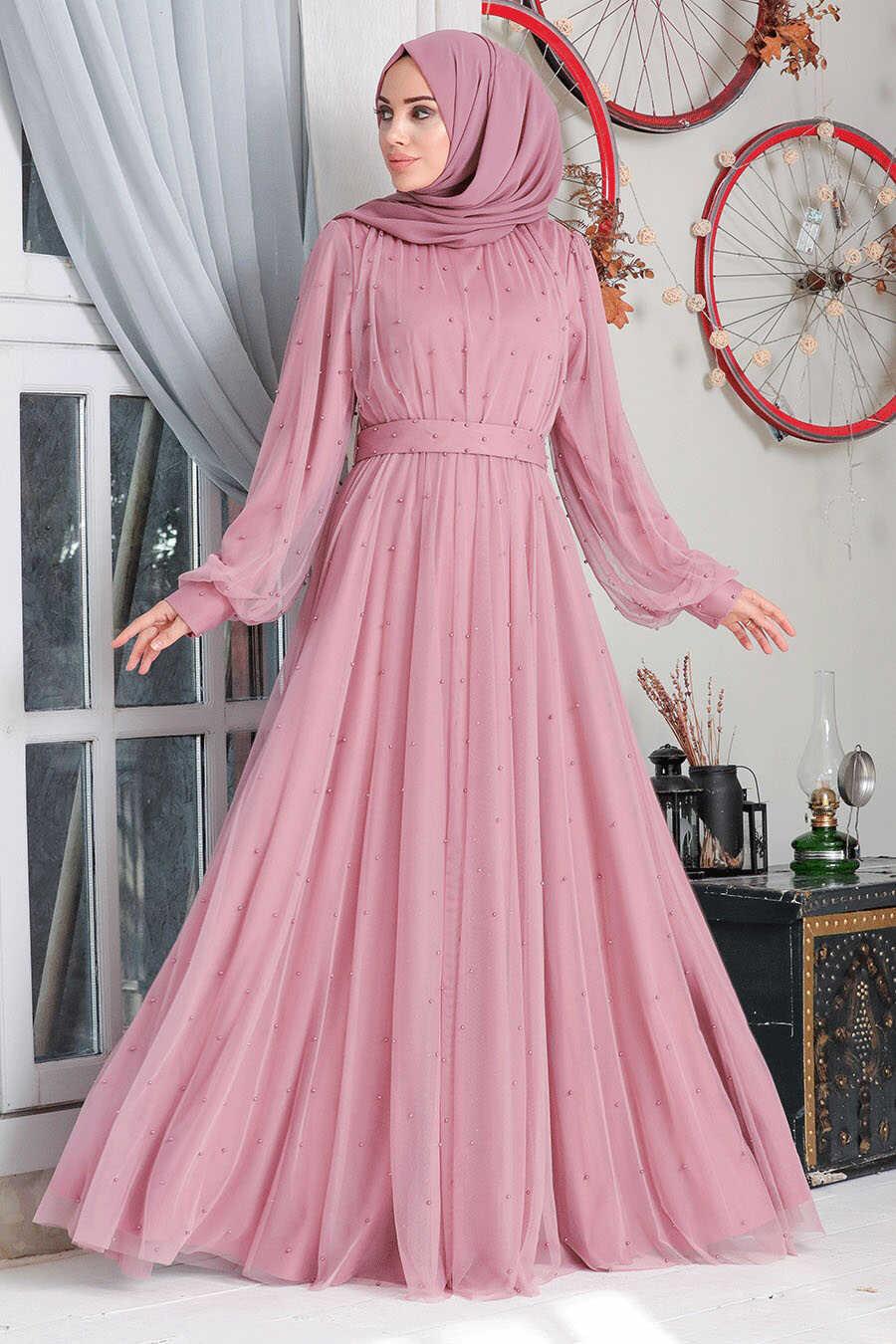 Powder Pink Hijab Evening Dress 50080PD