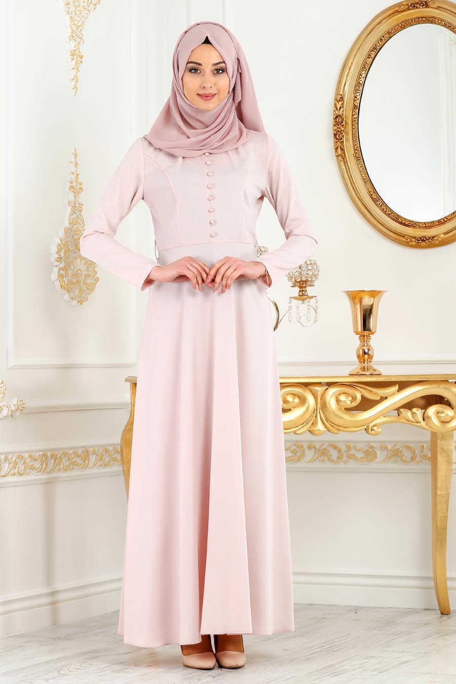 Powder Pink Hijab Evening Dress 7080PD