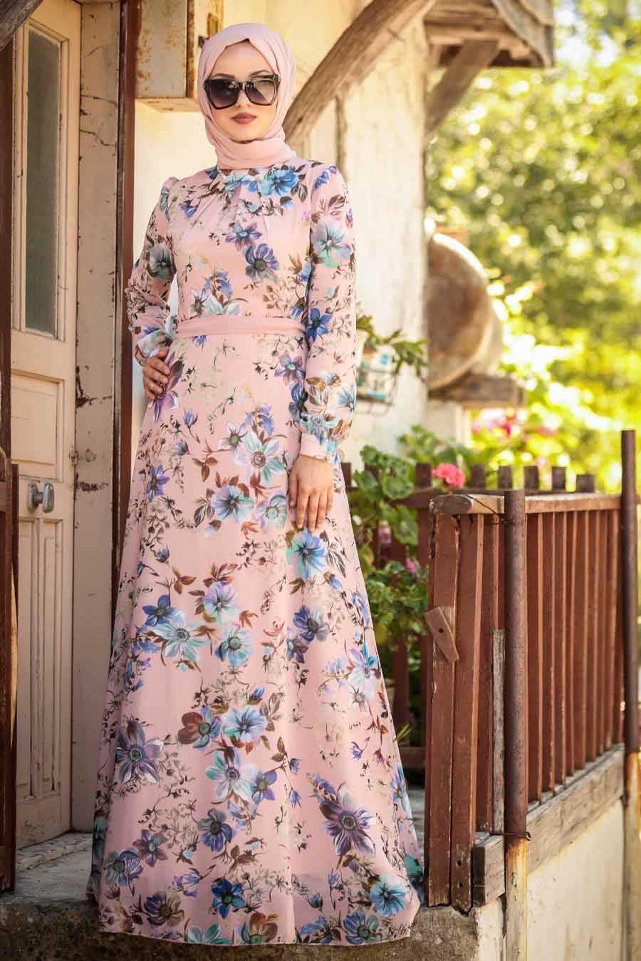 Powder Pink Hijab Evening Dress 815241PD
