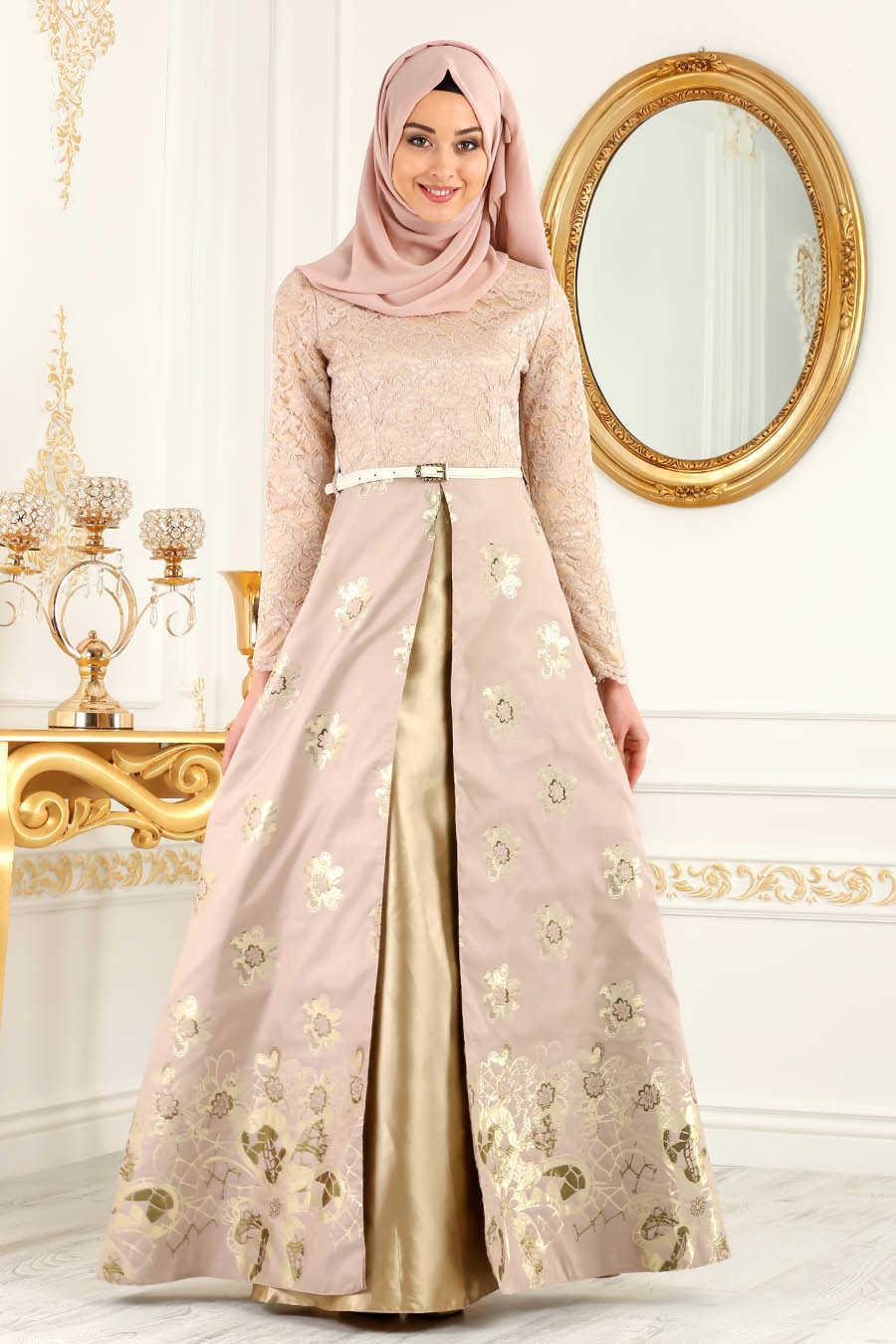 Powder Pink Hijab Evening Dress 82457PD