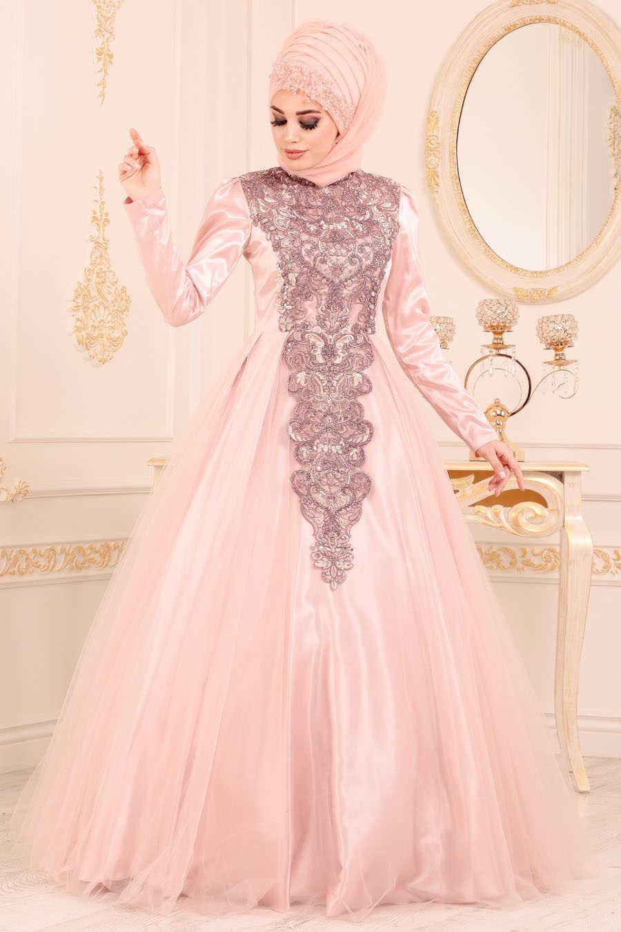 Powder Pink Hijab Evening Dress 192501PD