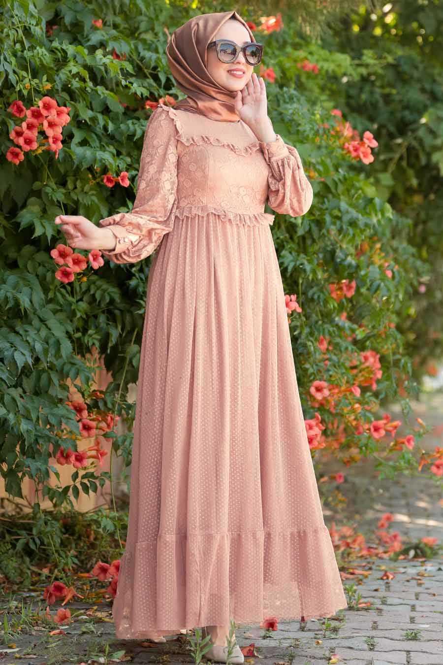 Puantiyeli Pudra Tesettür Abiye Elbise 38730PD