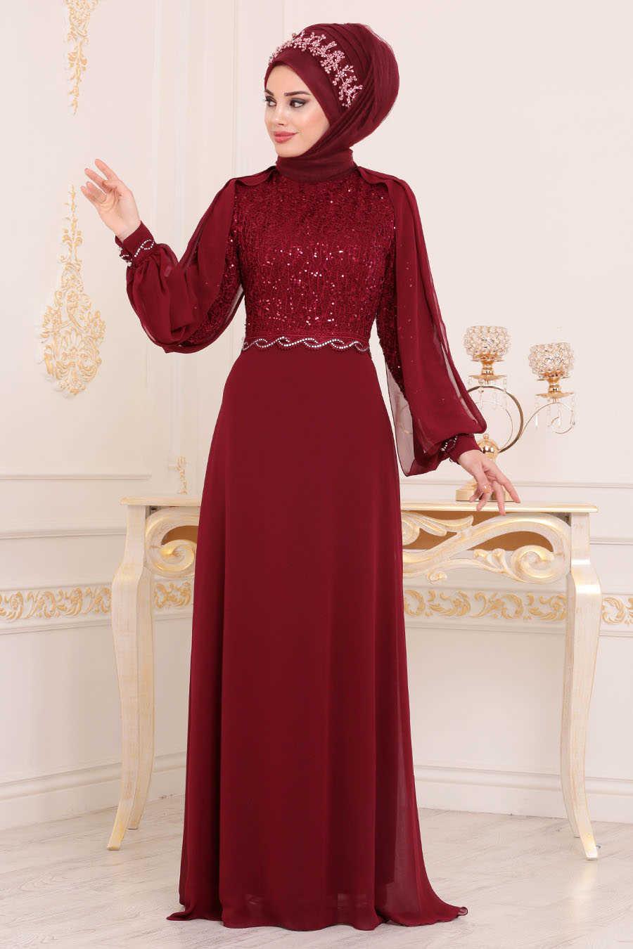 Pul Detaylı Bordo Tesettür Abiye Elbise 25736BR