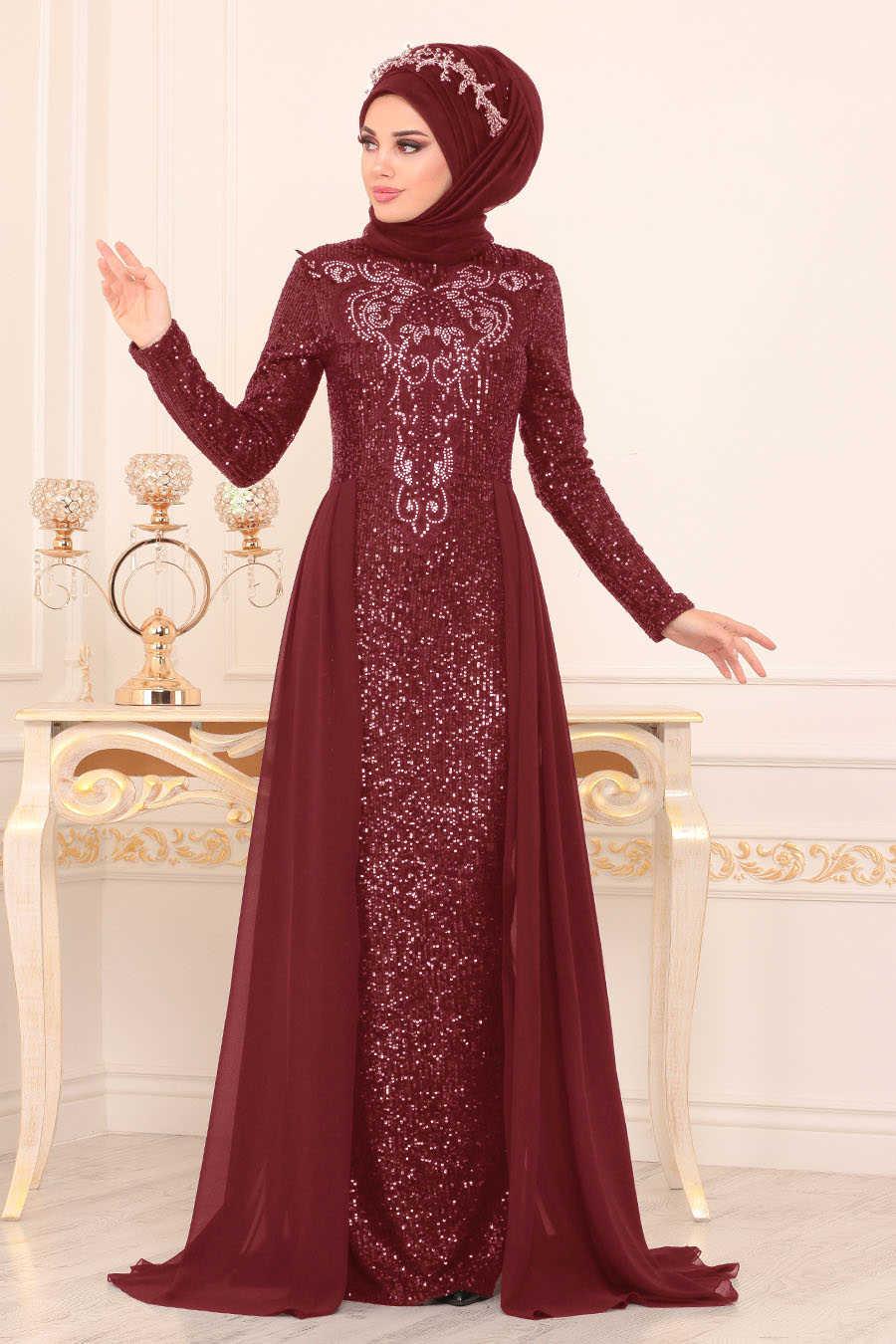Pul Payetli Bordo Tesettür Abiye Elbise 25724BR