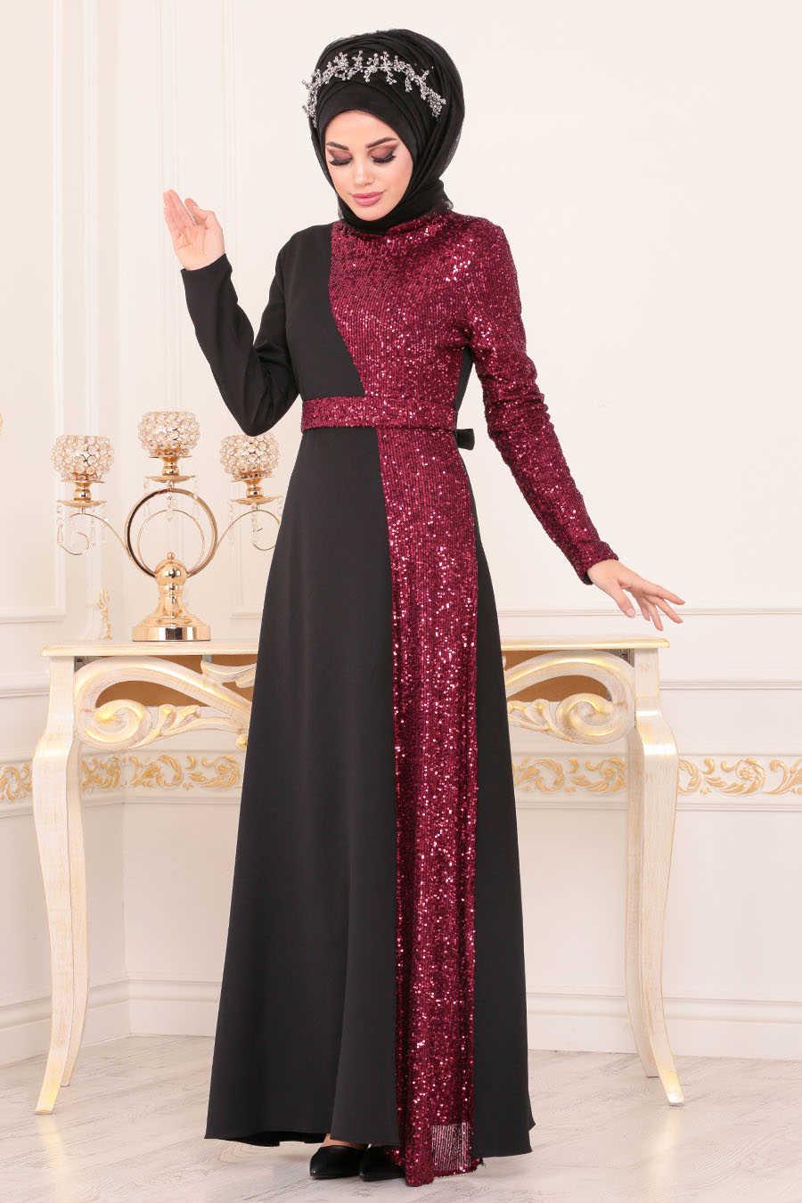 Pul Payetli Bordo Tesettür Abiye Elbise 8611BR