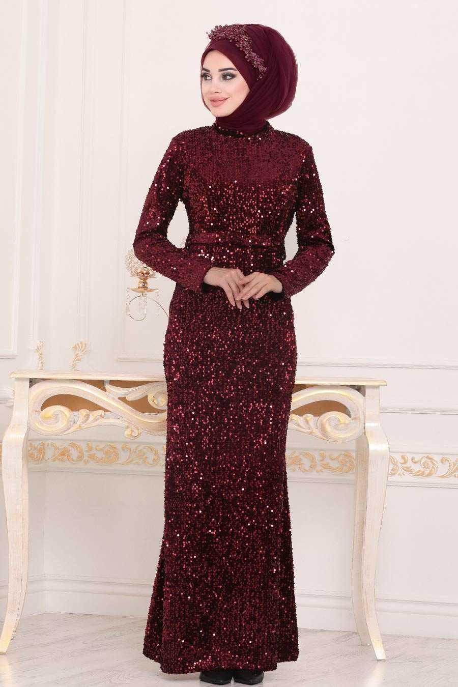 Pul Payetli Bordo Tesettür Abiye Elbise 8727BR