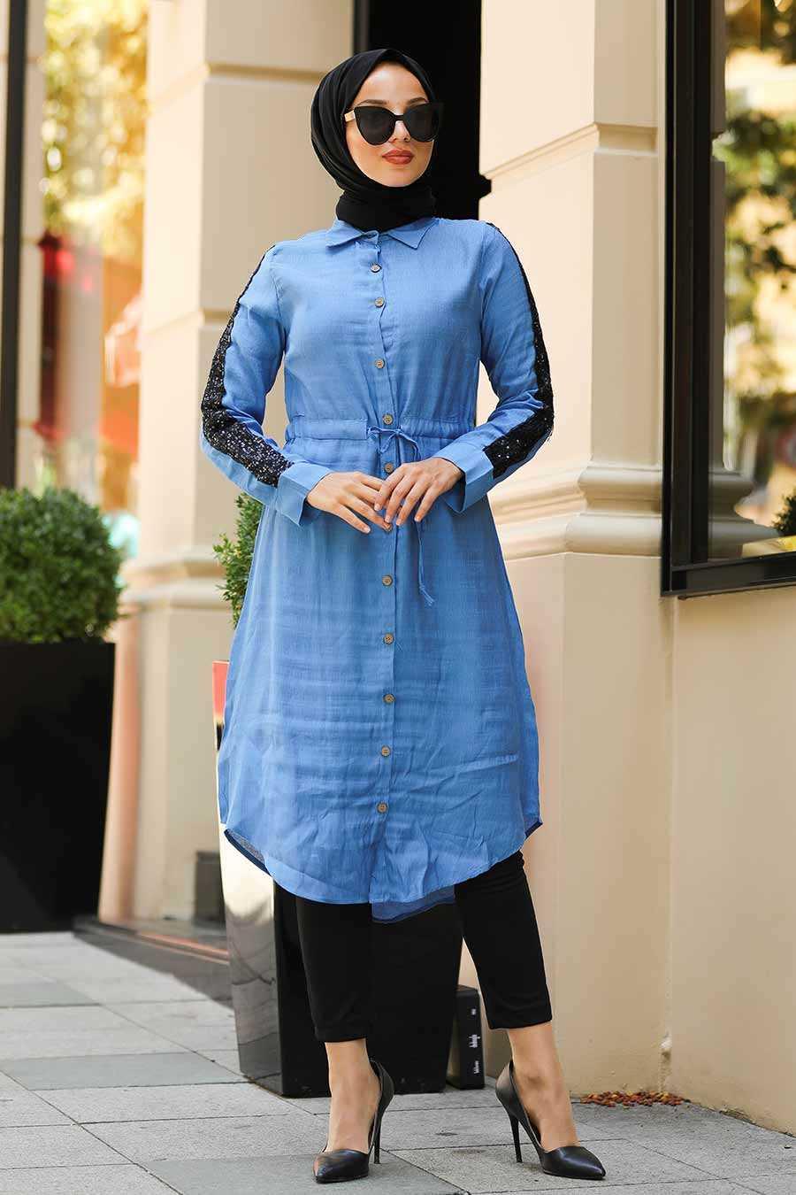 Pul Payetli İndigo Mavisi Tesettür Gömlek 3783IM