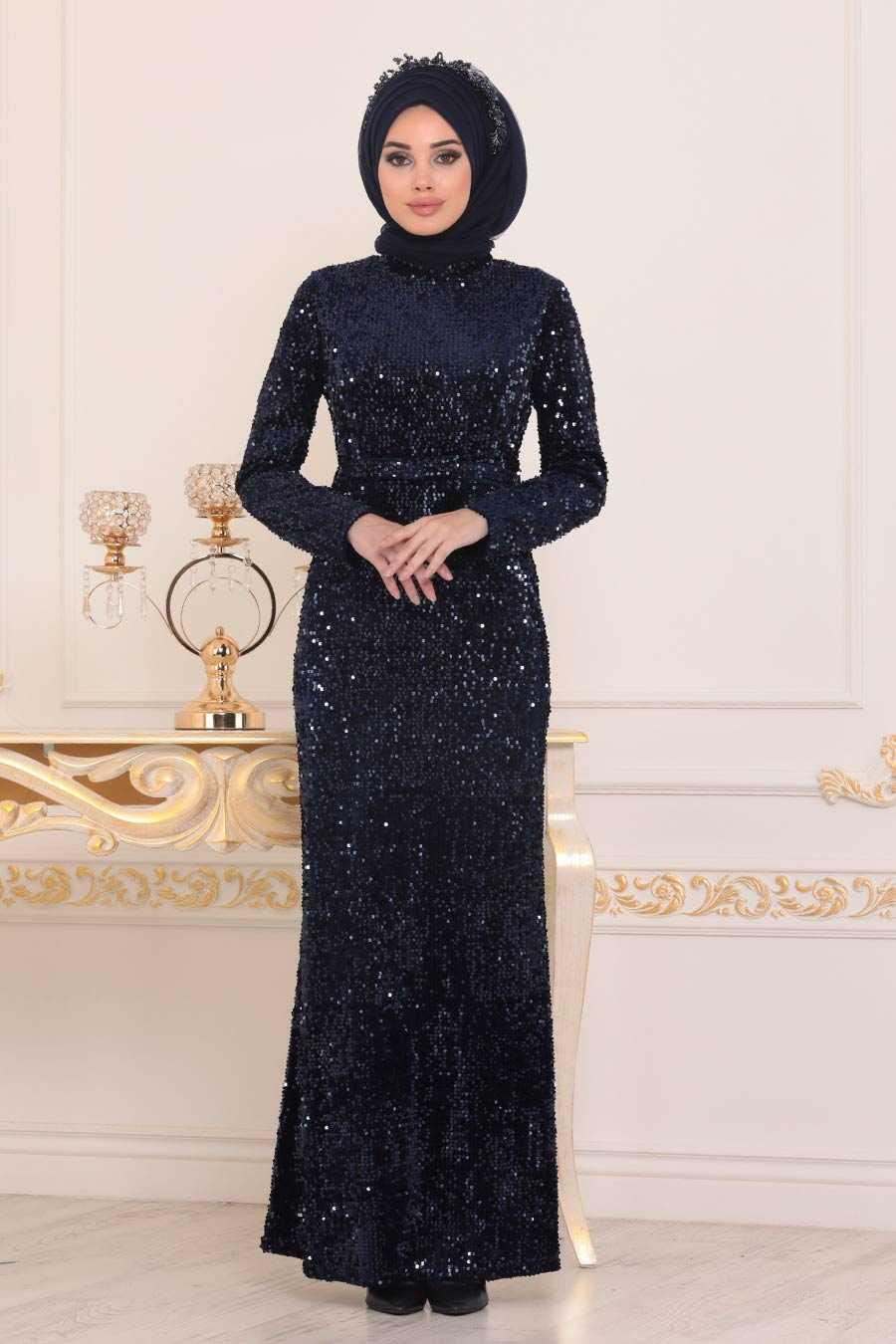 Pul Payetli Lacivert Tesettür Abiye Elbise 8727L