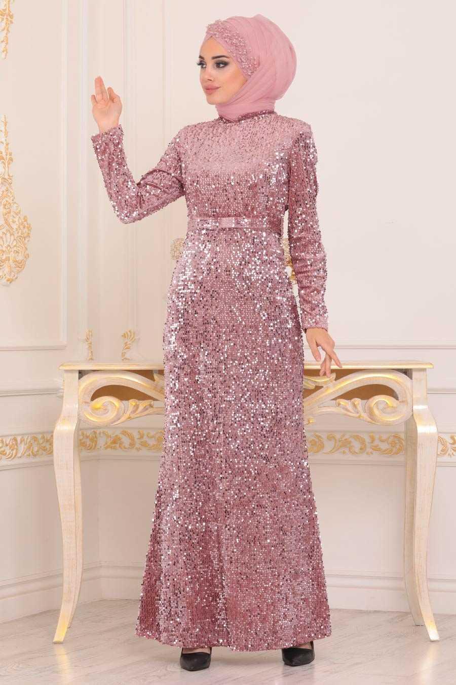 Pul Payetli Pudra Tesettür Abiye Elbise 8727PD