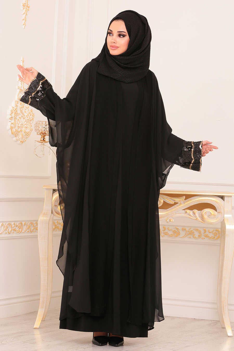 Pul Payetli Siyah Tesettür Abaya 9046S