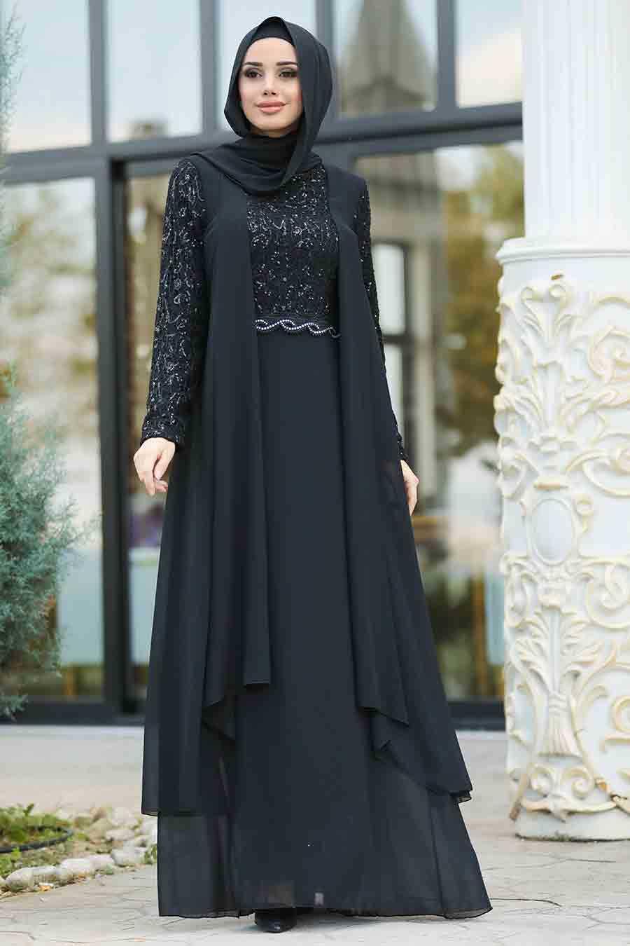 Pul Payetli Siyah Tesettür Abiye Elbise 25758S