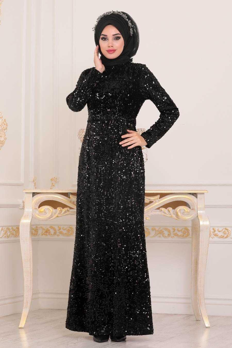 Pul Payetli Siyah Tesettür Abiye Elbise 8727S