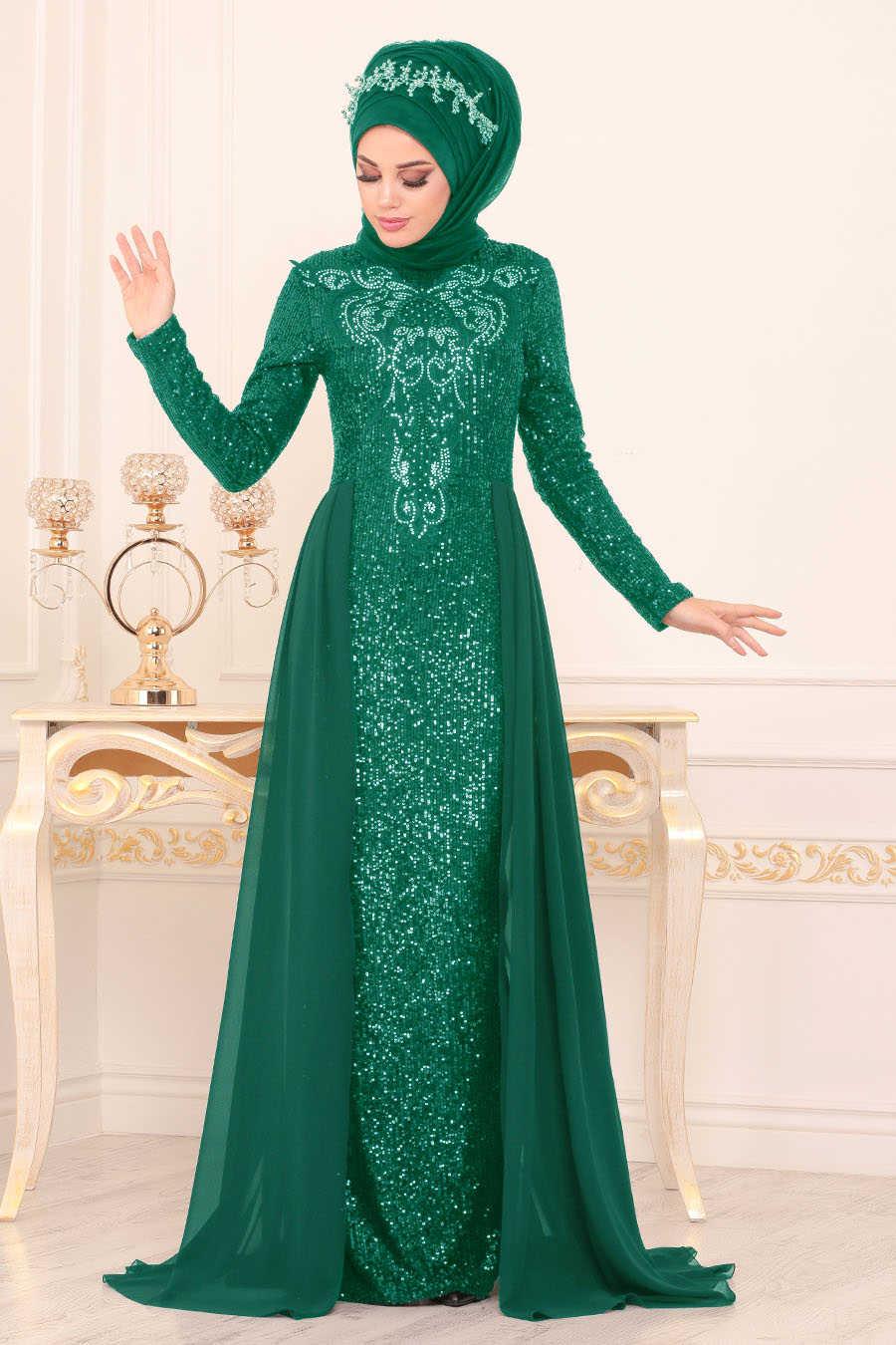 Pul Payetli Yeşil Tesettür Abiye Elbise 25724Y