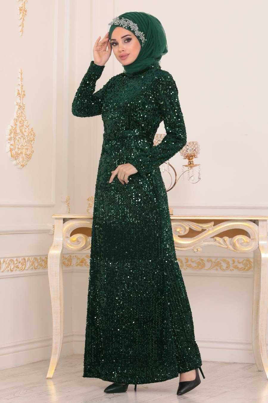 Pul Payetli Yeşil Tesettür Abiye Elbise 8727Y