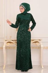 Pul Payetli Yeşil Tesettür Abiye Elbise 8727Y - Thumbnail