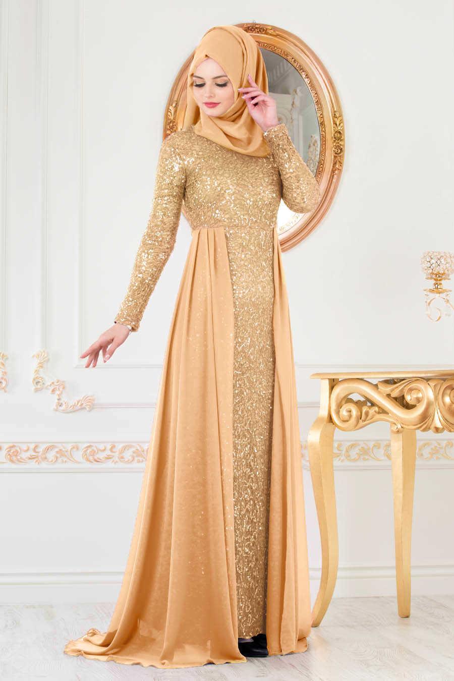 Pullu Gold Tesettür Abiye Elbise 90000GOLD