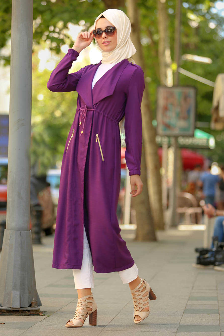 Purple Hijab Coat 52670MOR