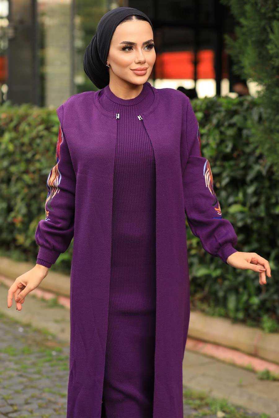 Purple Hijab Dual Suit Dress 2200MOR
