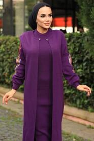 Purple Hijab Dual Suit Dress 2200MOR - Thumbnail